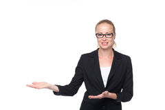 Business woman showing hand sign to side. Royalty Free Stock Photos