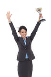 Business woman showing her big trophy Royalty Free Stock Image