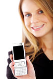 Business woman showing her phone Stock Photography
