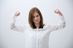 Business woman showing her strength Stock Photo