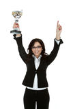 Business woman showing her trophy Royalty Free Stock Images