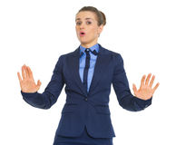 Business woman showing hold on gesture Stock Photography