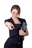 Business woman showing the index finger Stock Image