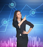 Business woman showing index finger on icon of Royalty Free Stock Images