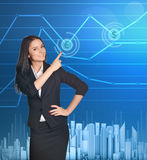 Business woman showing index finger on icon of Royalty Free Stock Photo