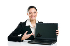 Business woman showing laptop screen Royalty Free Stock Photo
