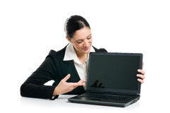 Business woman showing laptop screen Royalty Free Stock Image