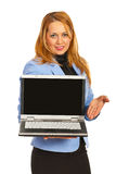 Business woman showing laptop screen Stock Image