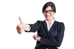 Business woman showing like or thumb up Stock Photography