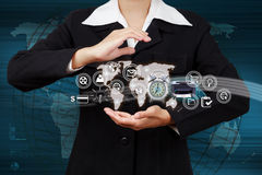 Business woman showing map and icon web symbol on hand Stock Image