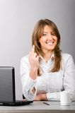 Business woman is showing middle finger Stock Images