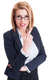 Business woman showing the middle finger Royalty Free Stock Photos