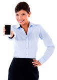 Business woman showing mobile phone Stock Photo