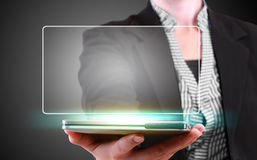 Business woman showing modern tablet phone with blank template Stock Photo