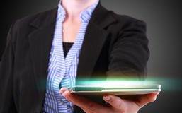 Business woman showing modern tablet phone template Royalty Free Stock Photography