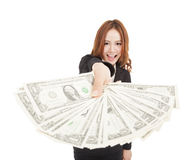 Business woman showing the money. Happy business woman showing the money Royalty Free Stock Image