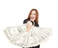 Business woman showing the money. Happy business woman showing the money Royalty Free Stock Photos