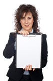 Business woman showing a notebook Royalty Free Stock Photos