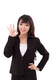 Business woman showing ok hand sign Royalty Free Stock Photo