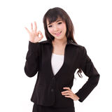 Business woman showing ok hand sign Stock Photos