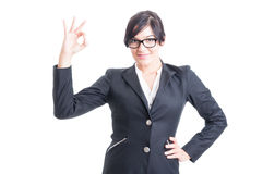 Business woman showing ok or perfect symbol Royalty Free Stock Photos