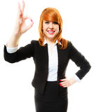Business woman showing ok sign Stock Image