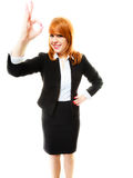 Business woman showing ok sign Royalty Free Stock Images
