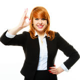 Business woman showing ok sign Stock Photography