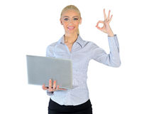 Business woman showing ok sign. Isolated business woman showing ok Royalty Free Stock Images
