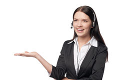 Business woman showing open hand palm Royalty Free Stock Image