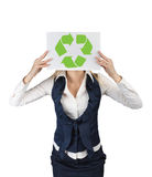 Business woman showing paper eco icon arrow Stock Photos