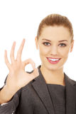 Business woman showing perfect hand sign. Stock Photo
