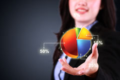 Business woman showing pie chart diagram Stock Photo