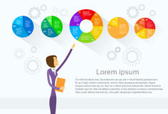 Business Woman Showing Pie Diagram Infographic Stock Photo