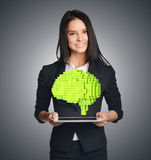 Business woman showing a pixel to the brain Stock Images
