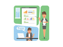 Business woman showing presentation of the project, sales statistics graphs on presentation screen. workplace concept Royalty Free Stock Photography