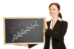 Business woman showing profit concept Stock Photo