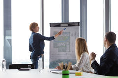 Business woman showing project details  on ground-plan at meeting Royalty Free Stock Images