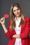 Business woman showing red card in hand Royalty Free Stock Photo