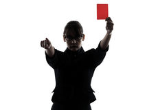 Business woman showing red card silhouette. One business woman show g red card  silhouette studio isolated on white background Stock Photography