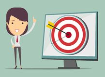Business woman showing right on target Royalty Free Stock Image