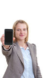 Business woman showing a samt phone Stock Photos
