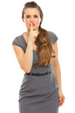 Business woman showing shhh... gesture Royalty Free Stock Photo