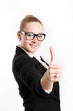 Business woman showing a sign Royalty Free Stock Photos