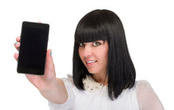 Business woman is showing smart phone Stock Image
