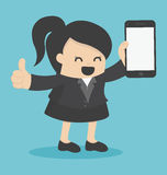 Business woman showing smartphone Stock Photo