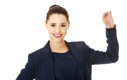 Business woman showing something or copyspase Royalty Free Stock Photography