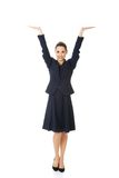Business woman showing something or copyspase Royalty Free Stock Photo