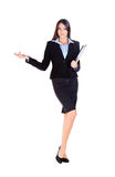 Business woman is showing something with the hand Stock Images