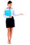 Business woman showing something Stock Images